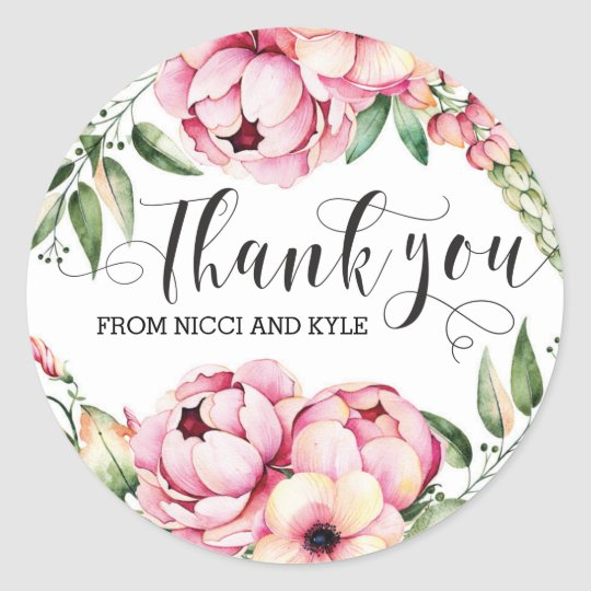Beautiful Floral Wedding Thank You Stickers
