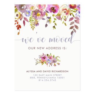Beautiful Floral | We've Moved | Change of Address Postcard