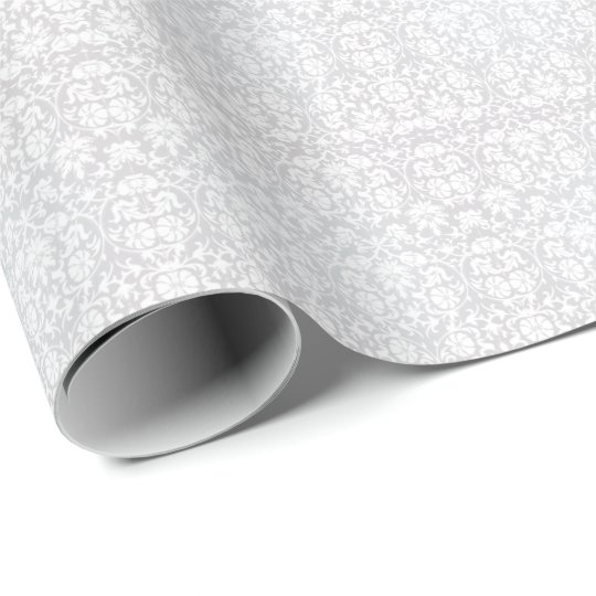 Beautiful Floral White Damask Design Wrapping Paper