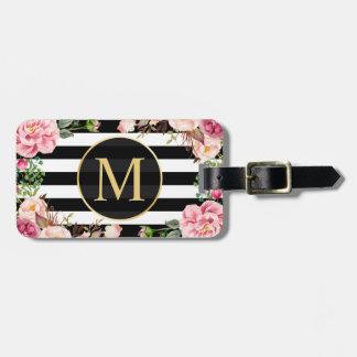 Beautiful Floral Wrap Black White Stripes Monogram Luggage Tag