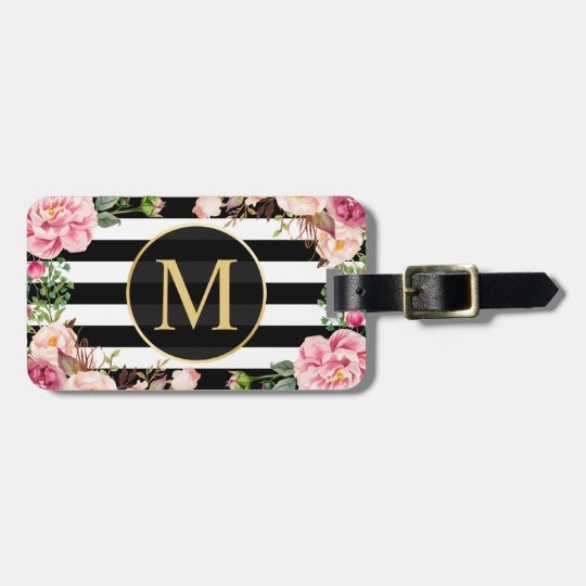 Beautiful Floral Wrap Black White Stripes Monogram Luggage