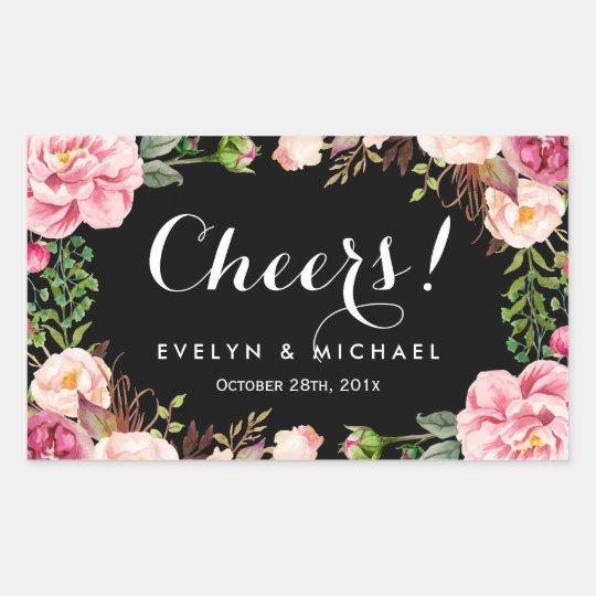 Beautiful Floral Wreath Cheers Wedding Wine Label Rectangular