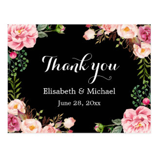 Beautiful Floral Wreath Wrap - Thank You Postcard
