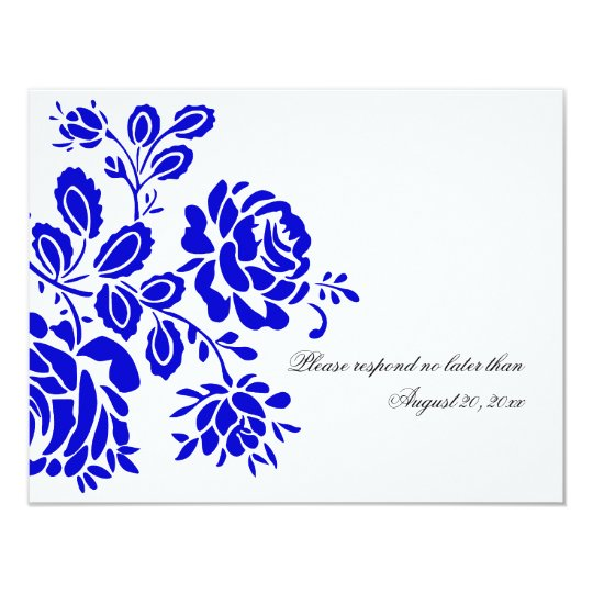 Beautiful Florals in Royal Blue RSVP / Reply