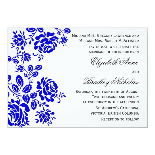 Beautiful Florals in Royal Blue Wedding Invitation