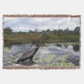 Beautiful Florida Snakebird in Nature Picture Throw Blanket