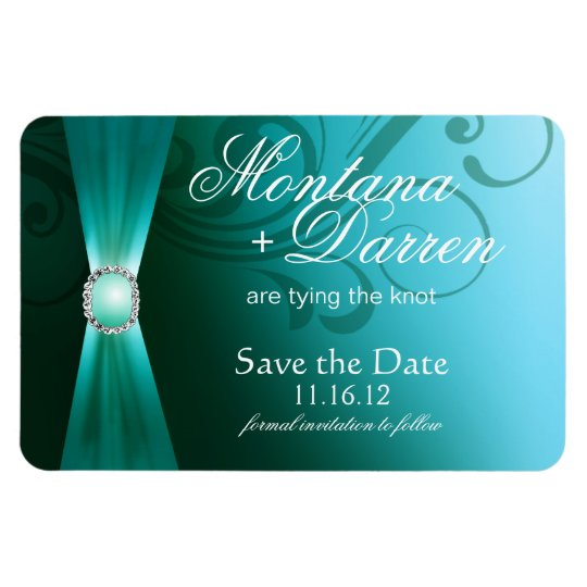 Beautiful Flourish Save the Date Magnet | teal