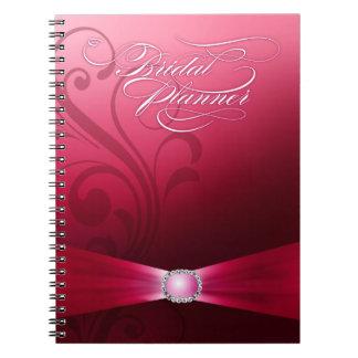 Beautiful Flourish Wedding Planner | hot pink Spiral Note Book