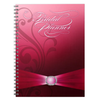 Beautiful Flourish Wedding Planner | hot pink Spiral Notebook