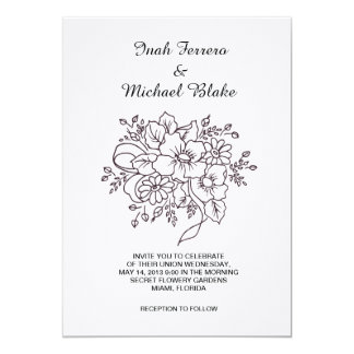 beautiful flower 13 cm x 18 cm invitation card