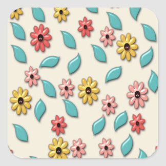 Beautiful Flower Colorful Pattern Square Sticker