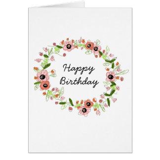 Beautiful Flower Crown Birthday Card