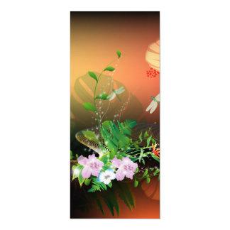 Beautiful flowers 10 cm x 24 cm invitation card