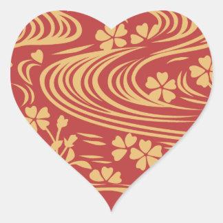 Beautiful flowers flowing river floats heart sticker