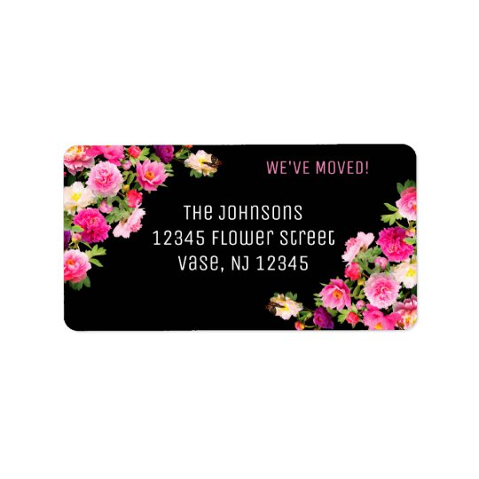 Beautiful Flowers New Address Labels