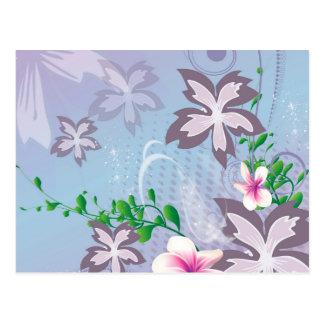 Beautiful flowers with grunge postcard