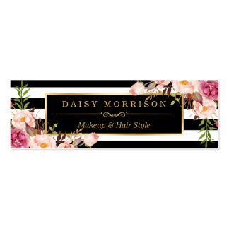 Beautiful Flowers Wrapping Gold B&W Stripes Pack Of Skinny Business Cards