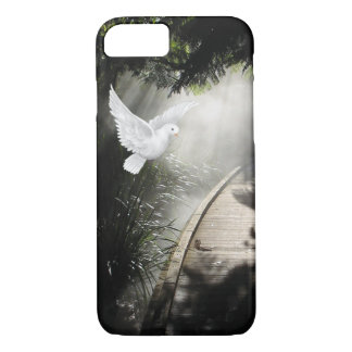 Beautiful flying dove in sunbeam iPhone 7 case