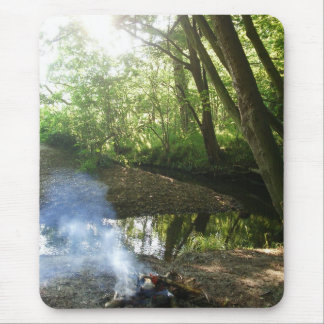 Beautiful Forest Scene With Camp Fire Mousepad