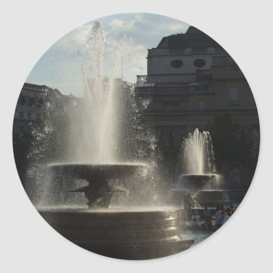 Beautiful Fountains With Lady On The High Column I Classic Round Sticker