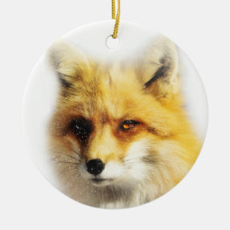 Beautiful Fox and Snow Winter Solstice Ornament