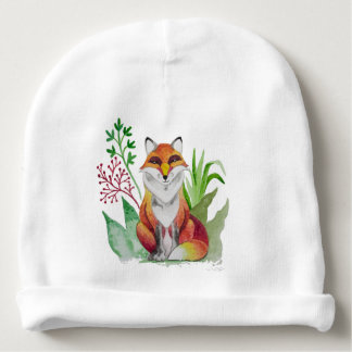 Beautiful Fox card for Baby Shower Baby Beanie