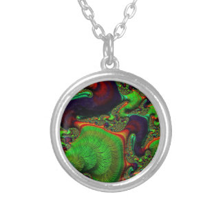 Beautiful Fractal Swirls Silver Plated Necklace