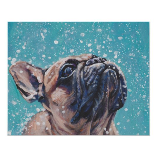 Beautiful French Bulldog Fine Art Dog Painting Poster