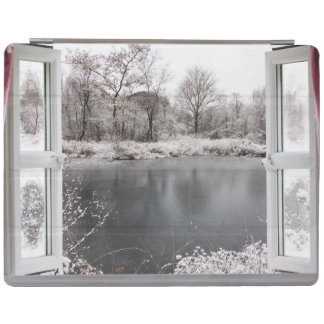 Beautiful frozen lake scene through an open window iPad cover