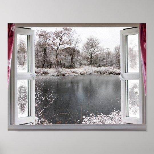 Beautiful frozen lake scene through an open window