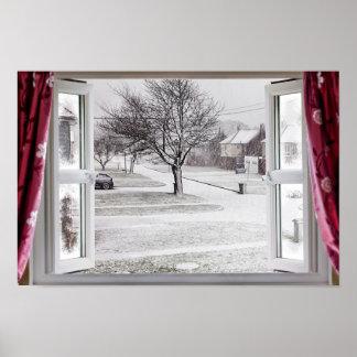 Beautiful frozen lake scene through an open window poster