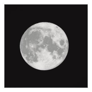 Beautiful Full Moon on Black Poster