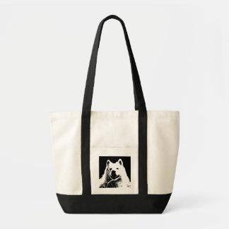 Beautiful furry Samoyed white dog Canvas Bags