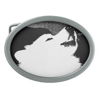 Beautiful furry Samoyed white dog Belt Buckles