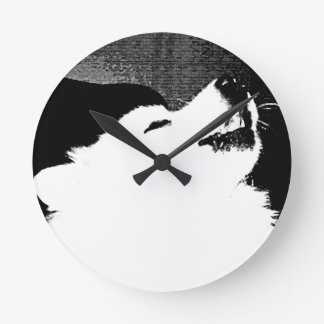 Beautiful furry Samoyed white dog Wall Clock