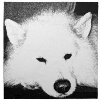 Beautiful furry Samoyed white dog Cloth Napkins