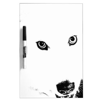 Beautiful furry Samoyed white dog Dry Erase Boards