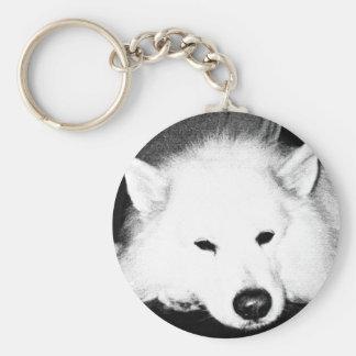 Beautiful furry Samoyed white dog Keychains