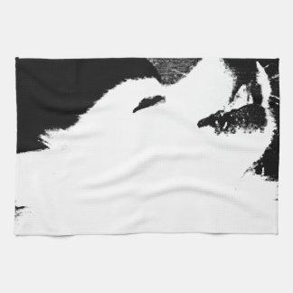 Beautiful furry Samoyed white dog Kitchen Towels