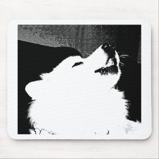 Beautiful furry Samoyed white dog Mousepads