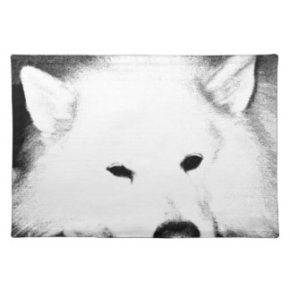 Beautiful furry Samoyed white dog Placemats