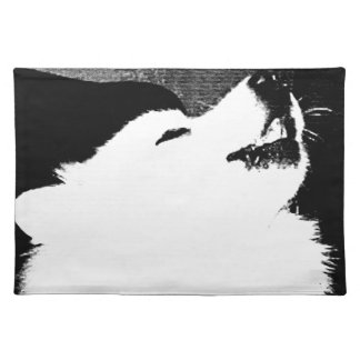 Beautiful furry Samoyed white dog Placemats