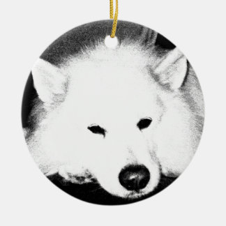 Beautiful furry Samoyed white dog Round Ceramic Decoration