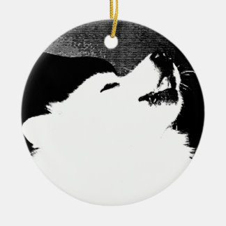 Beautiful furry Samoyed white dog Round Ceramic Decoration