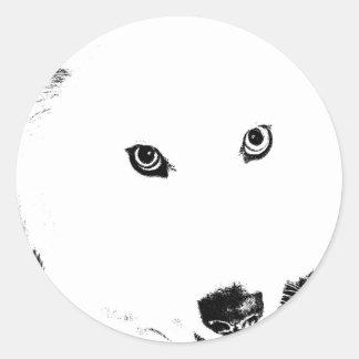 Beautiful furry Samoyed white dog Round Sticker