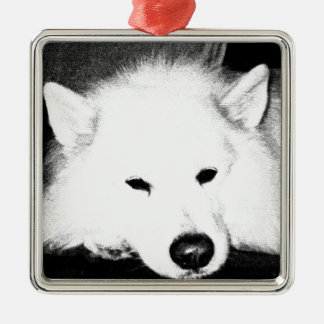 Beautiful furry Samoyed white dog Silver-Colored Square Decoration