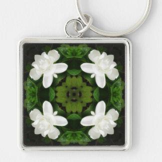 Beautiful Gardenia 5 Kaleidoscope 1 Silver-Colored Square Key Ring