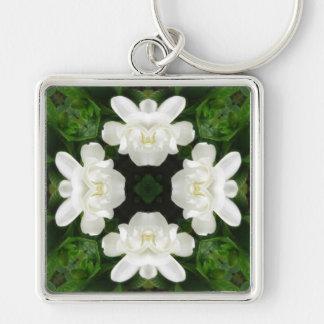 Beautiful Gardenia 5 Kaleidoscope 2 Silver-Colored Square Key Ring