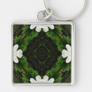 Beautiful Gardenia 5 Kaleidoscope 3 Silver-Colored Square Key Ring