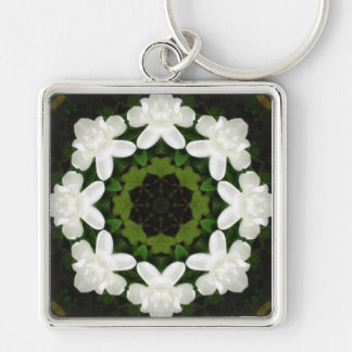 Beautiful Gardenia 5 Kaleidoscope 4 Silver-Colored Square Key Ring
